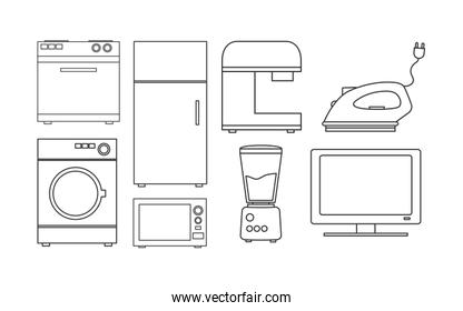 Variety home appliances icon set pack vector illustration