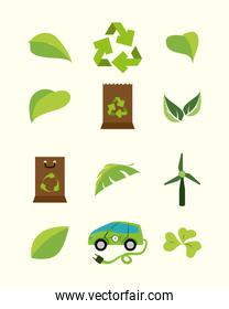 Variety eco and energy icon set pack vector design