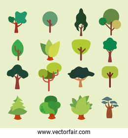 Variety trees icon set pack vector design