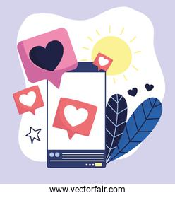 smartphone speech bubble love romantic social media