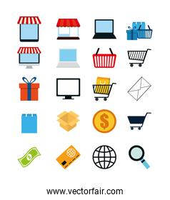Variety shopping icon set pack vector design