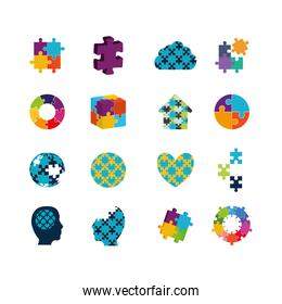 Variety puzzle icon set pack vector design