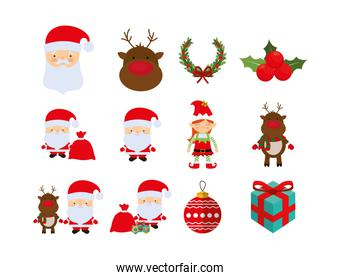 Variety merry christmas icon set pack vector design