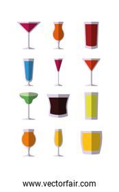 Variety cocktails icon set pack vector design