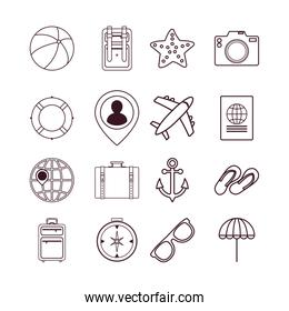 Variety travel and summer icon set pack vector design