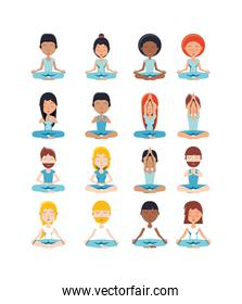 Variety yoga poses icon set pack vector design