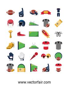 Variety american football icon set pack vector design