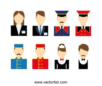 Variety hotel jobs icon set pack vector design