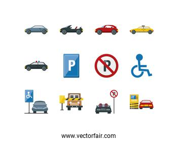 Variety parking sign and cars icon set pack vector design