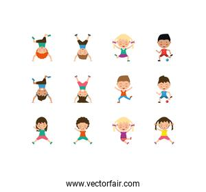 Variety kids icon set pack vector design