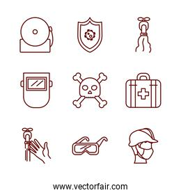 shield and safety elements icon set, line style