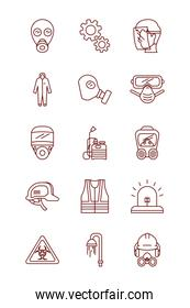 security masks and safety elements icon set, line style