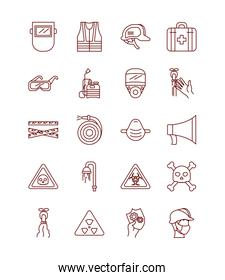 first aid kit and safety elements icon set, line style