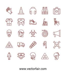 megaphone and safety elements icon set, line style