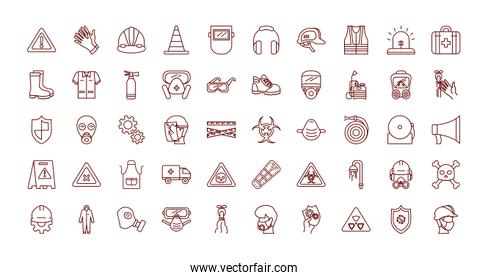 industrial security icon set, line style