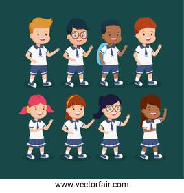 group of students kids characters