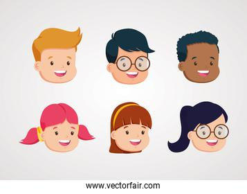 group of students kids heads characters