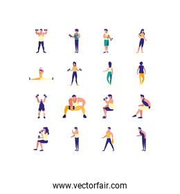 Variety people doing sport icon set pack vector design