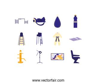 Variety movie and sport icon set pack vector design