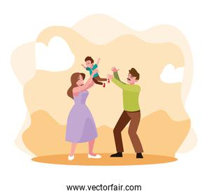 Father and mother with son vector design