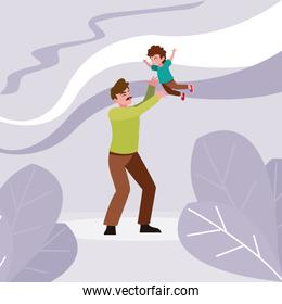 Father with son vector design