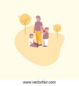 Father with sons vector design