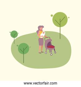 mother with baby vector illustration