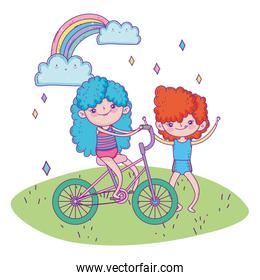 happy childrens day, girl riding bicycle and boy outdoor cartoon