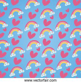 happy valentines day card with hearts and rainbows pattern