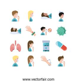 Variety medical and medicine icon set pack vector design