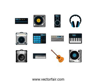 Variety music and sound icon set pack vector design