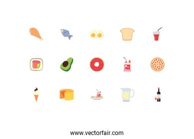Food and drinks icon set pack vector design