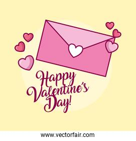 valentines day celebration with envelope and heart