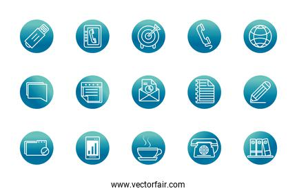office supply equipment stationery icon set block gradient style icon