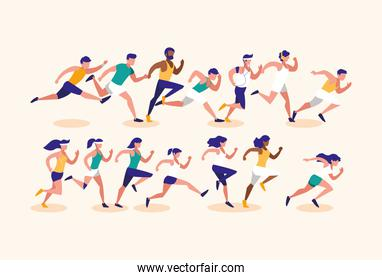 Women and men running vector design