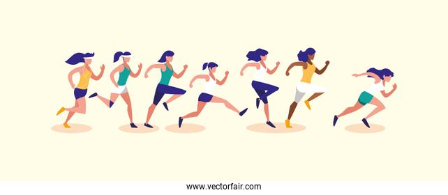 Women running vector design