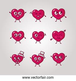 bundle of valentines day hearts characters