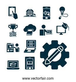gear wheel and pencil and online education icon set, silhouette style