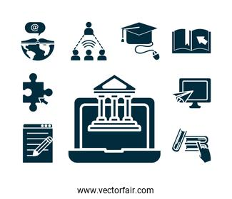 laptop computer and online education icon set, silhouette style