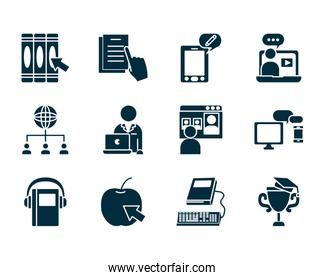 avatar teacher and online education icon set, silhouette style