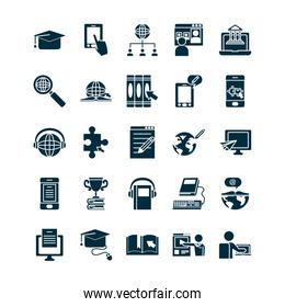books and online education icon set, silhouette style