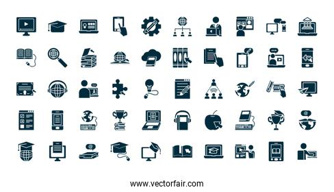 online academic education icon set, silhouette style