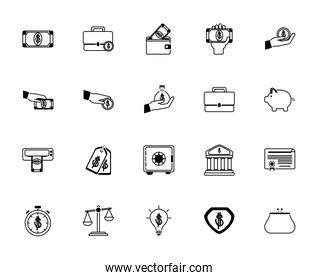 money business financial trade commerce icons set line style icon