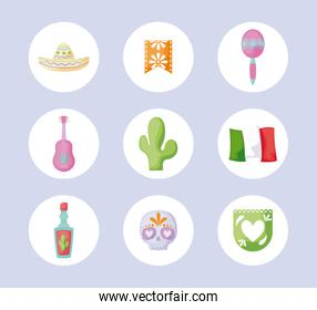 bundle of traditional mexico icons