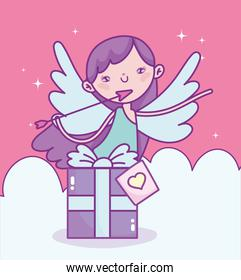 happy valentines day, cupid with arrow gift box clouds love