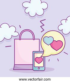 smartphone love message and shopping bag