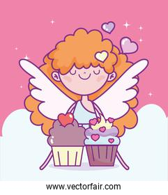 happy valentines day, cupid with sweet cupcakes love