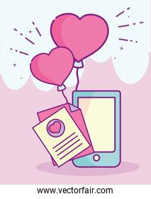 happy valentines day, smartphone message letter balloons heart love