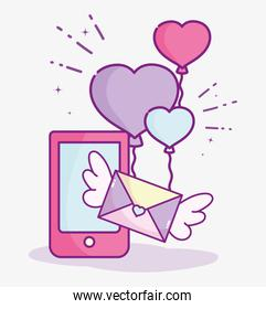 happy valentines day, smartphone mail message balloons shaped heart