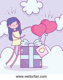 happy valentines day, girl with gift box and balloons shaped hearts love